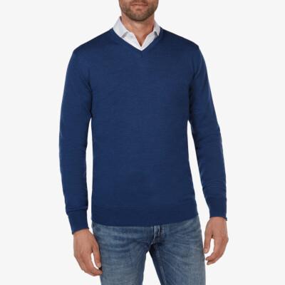 Kingston v-neck pullover, Jeans blue