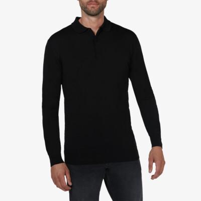 Wellington polo pullover, Zwart