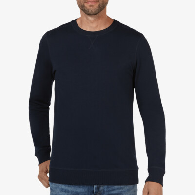 Lange navy ronde hals regular fit Girav Princeton Light sweater voor mannen