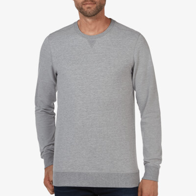 Lange grijs gemêleerde ronde hals regular fit Girav Princeton Light sweater voor mannen