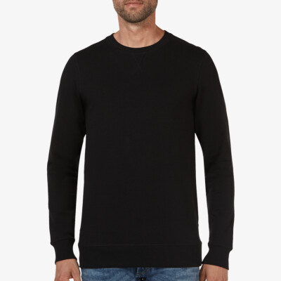 Lange zwarte ronde hals regular fit Girav Princeton Light sweater voor mannen