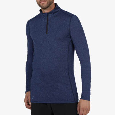 Serfaus Zip Thermoshirt, Estate blue Melange
