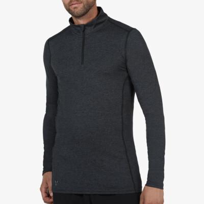 Serfaus Zip Thermoshirt, Zwart Melange