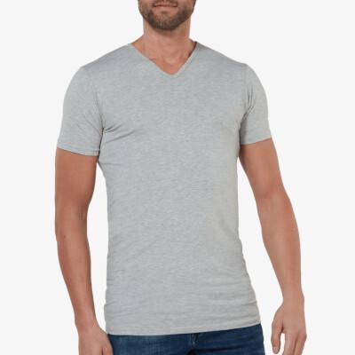 Extra Lange Heren T-shirts Grijs Gemêleerd Barcelona van Girav V-hals Slim Fit 60% katoen 30% polyester 5% elastaan [2-pack]