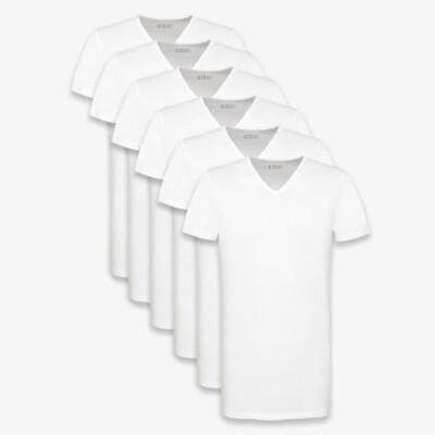 Extra Lange T-shirts Barcelona Heren Wit V-hals Slim Fit 95% katoen 5% elastaan van Girav [6-pack]