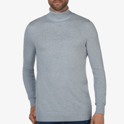 Bari Light turtleneck, Licht blauw melange