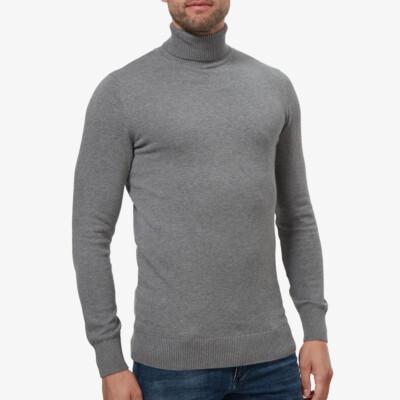 Navy ronde hals pullover Girav Calgary voor lange mannen, Regular Fit, gemaakt van 90% katoen / 10% cashmere