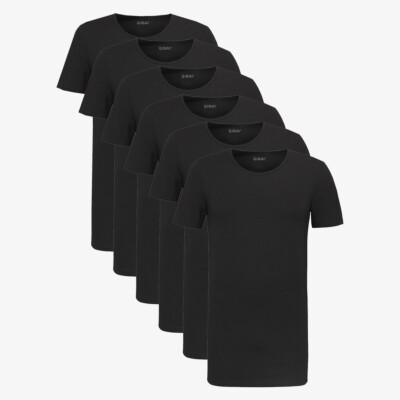Zwart Lang Heren T-shirt 6-pack Jakarta Medium Ronde Hals Slim Fit Girav