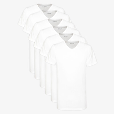 Lang Wit V-hals Regular Fit 100% Katoenen Heren T-shirt Melbourne 6-Pack van Girav