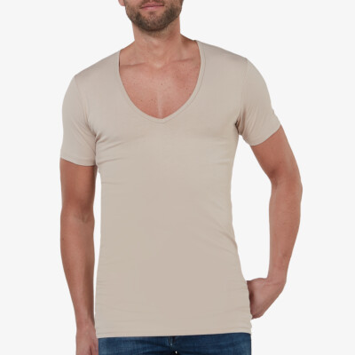 Extra Lang Wit Girav Milano Heren T-shirt 2-pack, Diepe V-hals, Slim Fit, Premium Amerikaans Katoen