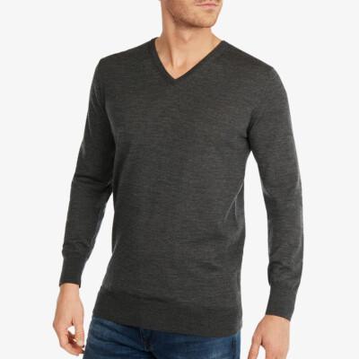 Lange antracieten V-hals regular fit Girav Montreal merino pullover voor mannen