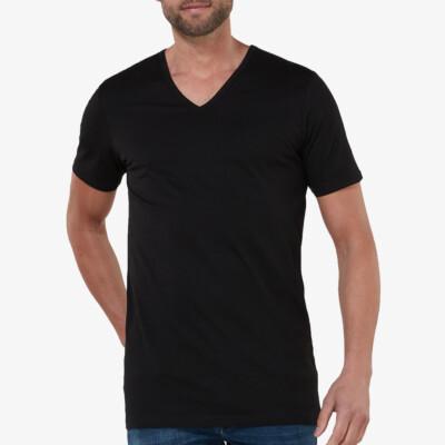 Lang zwart heren T-shirt regular fit v-hals korte mouwen Girav New York 2-pack
