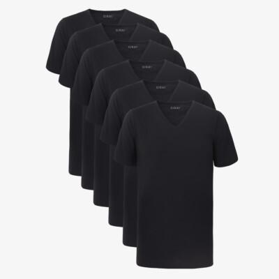 Lang Zwart T-shirt New York voor Heren, V-hals Standaard Pasvorm van 100% katoen, sixpack van Girav