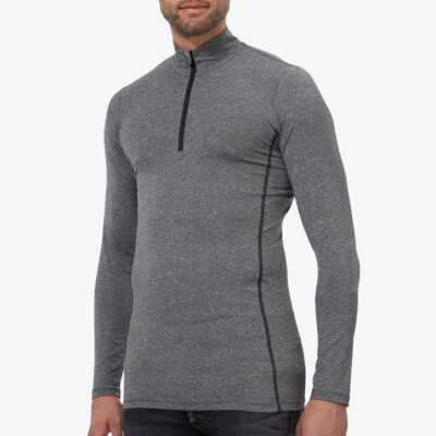 Serfaus Zip Thermoshirt, Antraciet Melange