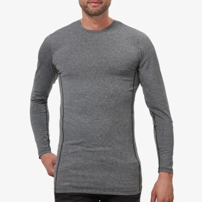 Lang donkergrijs gemêleerd Thermo shirt voor mannen. Girav St. Anton, Nanotechnologie, Ronde Hals, Slim Fit