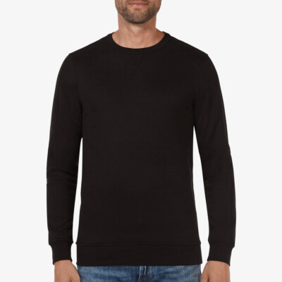 Lange zwarte ronde hals regular fit Girav Cambridge sweater voor mannen