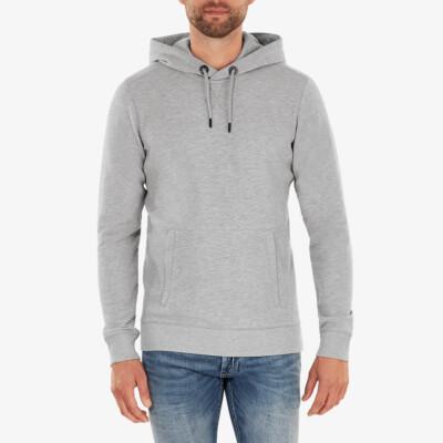 Girav Harvard lange grijs gemêleerde regular fit hoodie voor heren. Heeft een buikzak met twee roestvrijstalen YKK-ritsen aan de zijkanten.