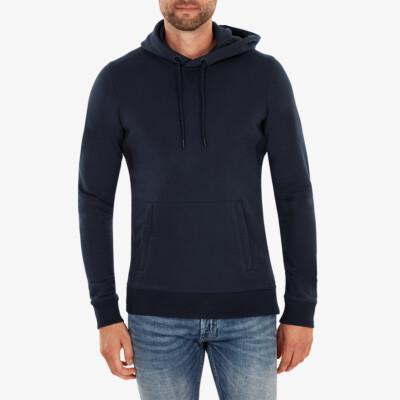 Girav Harvard lange navy donkerblauwe regular fit hoodie voor heren. Heeft een buikzak met twee roestvrijstalen YKK-ritsen aan de zijkanten.