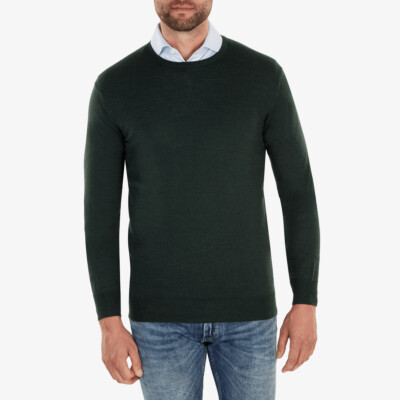 Ontario Crewneck pullover, Dark green melange