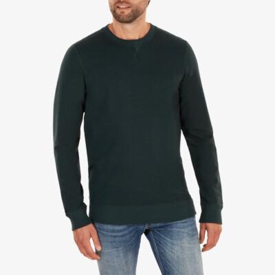 Lange groene ronde hals regular fit Girav Princeton Light sweater voor mannen