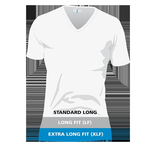 Girav lange T-shirts voor mannen maatsysteem